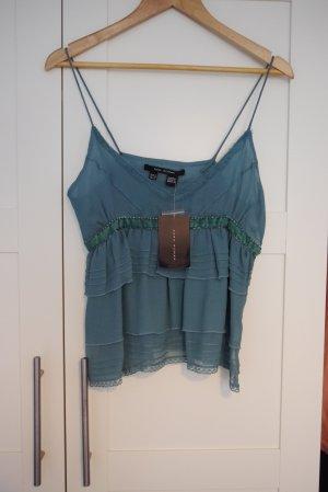 Zara Top petrol grünblau Seide tolle Details M Neu mit Etikett