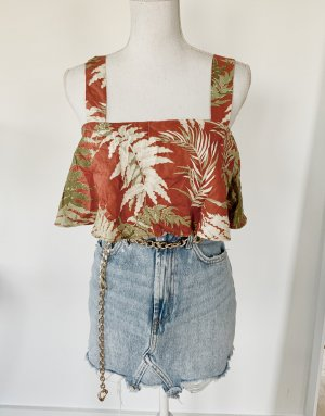 ZARA Top S 36 Orange Floral Cropped Volants Blumen Muster