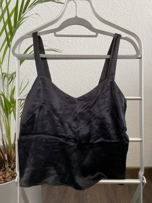Zara Top de seda negro