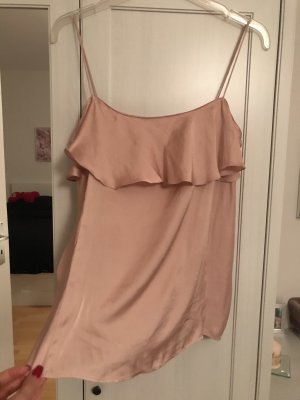 Zara Basic Silk Top rose-gold-coloured