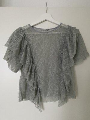 Zara top Shirt  Bluse spitze mint grün xs 34