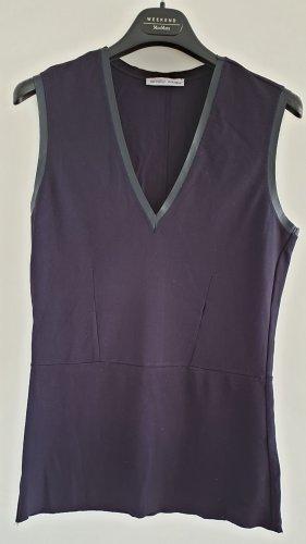 Zara Top, Shirt, dunkelblau mit Lederapplikation, Gr M