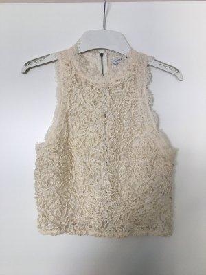 Zara Top di merletto bianco sporco-crema