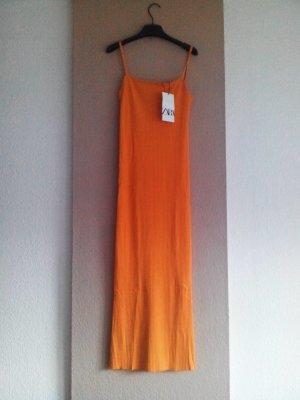 Zara Träger Midikleid, Strickkleid in orange, Größe M, neu
