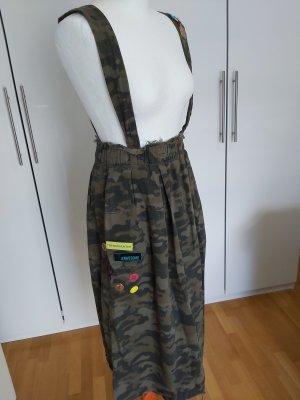 Zara Falda con tirantes verde oscuro-caqui