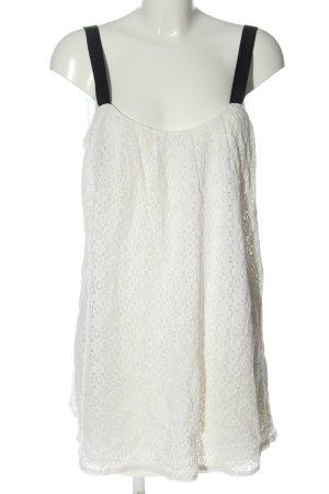 Zara Trägerkleid weiß-schwarz Webmuster Casual-Look