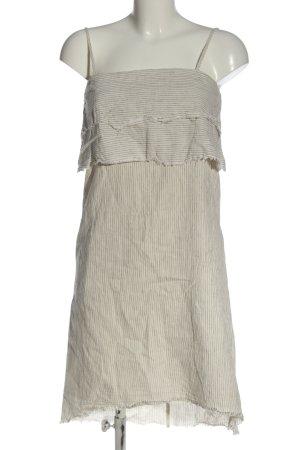 Zara Robe à bretelles blanc cassé-noir motif rayé style décontracté