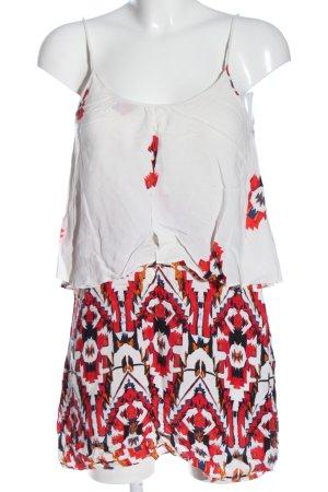 Zara Trägerkleid weiß-rot grafisches Muster Casual-Look