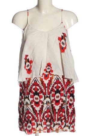 Zara Trägerkleid weiß-rot abstraktes Muster Casual-Look