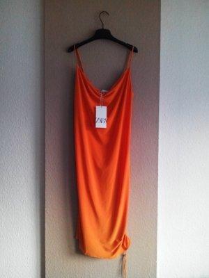 Zara Trägerkleid in orange mit regulierbarer Raffung links, Größe M, neu