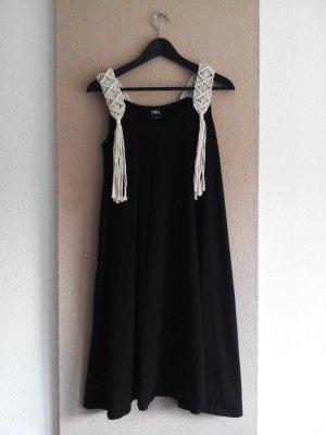 Zara Trägerkleid mit Häkel-Detail und Fransen aus 100% Baumwolle, Größe S, neu
