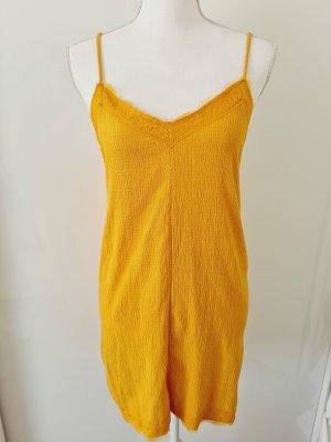 Zara Trägerkleid Sommerkleid Kleid mit Spitze in gelb Gr. S