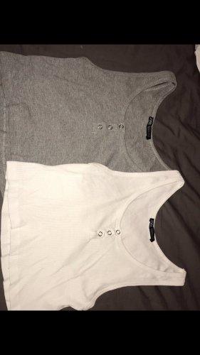Zara Top con bretelline bianco-grigio