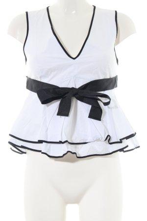 Zara Trafaluc ärmellose Bluse weiß-schwarz Casual-Look