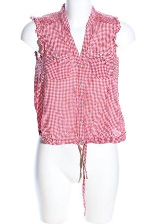 Zara Trafaluc ärmellose Bluse rot-weiß Allover-Druck Casual-Look