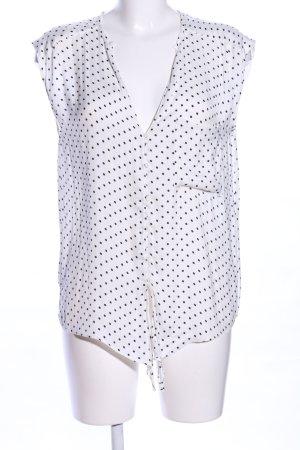 Zara Trafaluc ärmellose Bluse weiß-schwarz Allover-Druck Business-Look