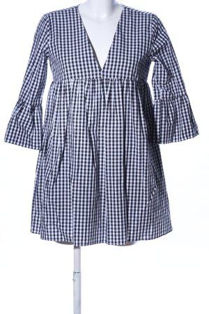 Zara Trafaluc Babydollkleid weiß-schwarz Karomuster Casual-Look