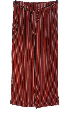 Zara Trafaluc Luźne spodnie czerwony-czarny Wzór w paski W stylu casual