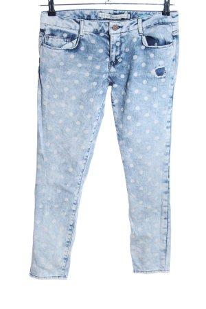 Zara Trafaluc Baggy jeans blauw-wit gestippeld patroon casual uitstraling