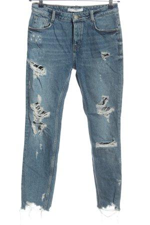 Zara Trafaluc Workowate jeansy niebieski W stylu casual