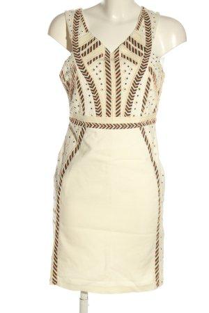 Zara Trafaluc Pencil Dress natural white-khaki striped pattern elegant