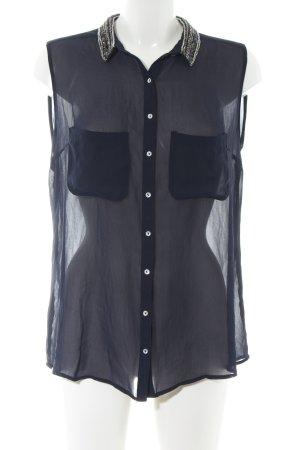 Zara Trafaluc Blusentop blau Business-Look