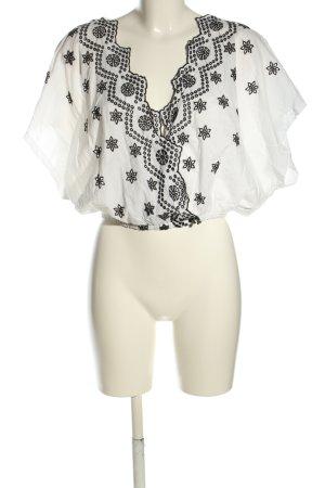 Zara Trafaluc Blouse topje wit-zwart Patroon-mengeling casual uitstraling