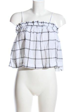 Zara Trafaluc Blouse topje wit-zwart geruite print casual uitstraling