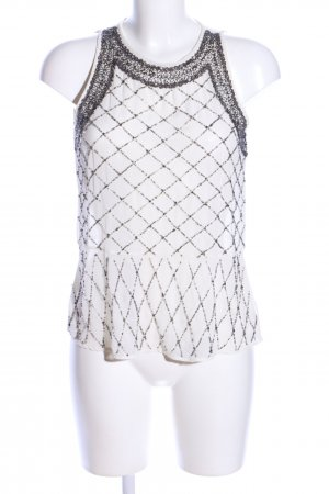 Zara Trafaluc Blouse topje wolwit-zwart grafisch patroon zakelijke stijl