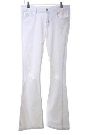 Zara Trafaluc Vaquero de corte bota blanco look casual