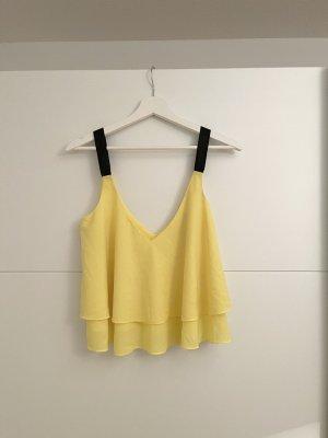 Zara Trafaluc Top peplo giallo-nero