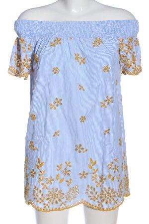 Zara Trafaluc Blouse Carmen bleu-jaune primevère motif de fleur