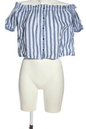 Zara Trafaluc Blusa tipo Carmen azul-blanco estampado a rayas look casual