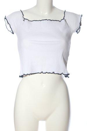 Zara Trafaluc Carmen-Bluse weiß-schwarz Casual-Look