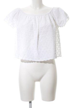 Zara Trafaluc Carmen-Bluse weiß Punktemuster Casual-Look