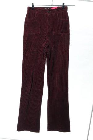 Zara Trafaluc Cordhose rot Streifenmuster Casual-Look