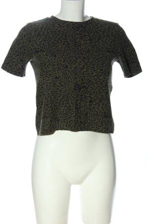 Zara Trafaluc Cropped Shirt braun-schwarz abstraktes Muster Casual-Look