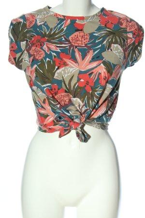 Zara Trafaluc Cropped Shirt Blumenmuster Casual-Look