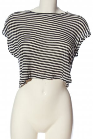 Zara Trafaluc Cropped Shirt weiß-schwarz Streifenmuster Casual-Look
