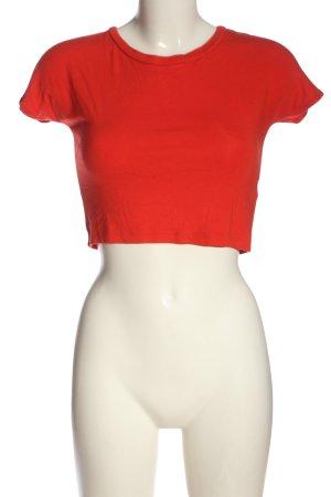 Zara Trafaluc Cropped Shirt rot Casual-Look