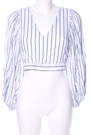 Zara Trafaluc Cropped Shirt white-blue striped pattern casual look