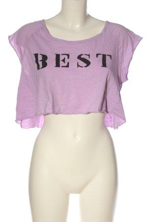 Zara Trafaluc Cropped Shirt lila Schriftzug gedruckt Casual-Look