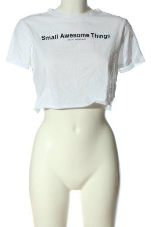 Zara Trafaluc Cropped Shirt weiß-schwarz Schriftzug gedruckt Casual-Look