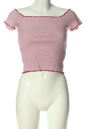 Zara Trafaluc Cropped Top weiß-rot Streifenmuster Casual-Look
