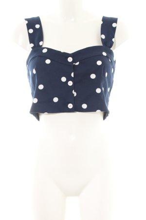 Zara Trafaluc Cropped Top blau-weiß Allover-Druck Casual-Look