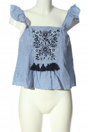 Zara Trafaluc Cropped Top blau-weiß Streifenmuster Casual-Look