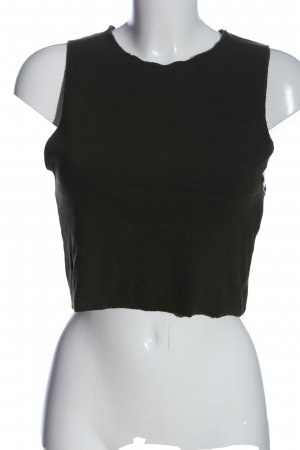 Zara Trafaluc Cropped Top khaki Streifenmuster Casual-Look