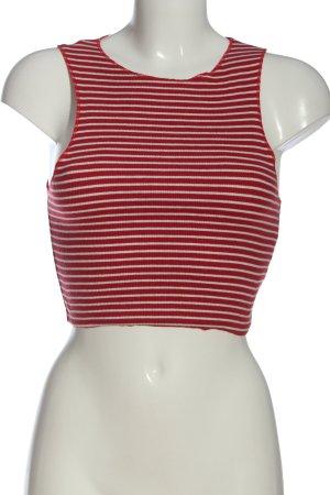 Zara Trafaluc Cropped Top rot-weiß Streifenmuster Casual-Look