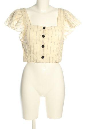 Zara Trafaluc Cropped Top creme-schwarz Streifenmuster Casual-Look