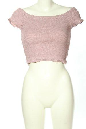 Zara Trafaluc Cropped Top braun-creme Streifenmuster Casual-Look